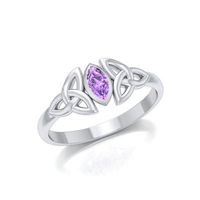 Silver Celtic Knotwork Birthstone Ring TRI936
