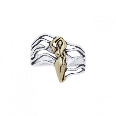 Dancing Goddess Gold Accent Silver Ring TRV3682