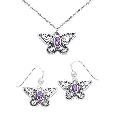 Transform into a beautiful butterfly ~ Sterling Silver Jewelry Set with Splendid Gemstones TSE570
