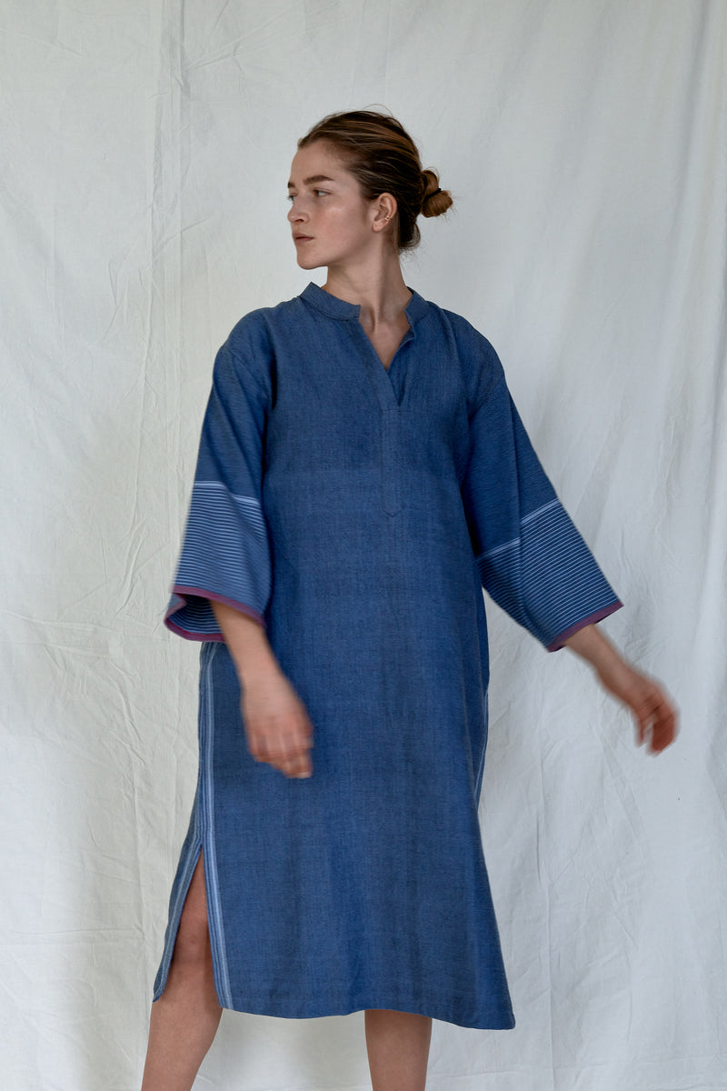 indigo tribeca long sleeve maxi kaftan