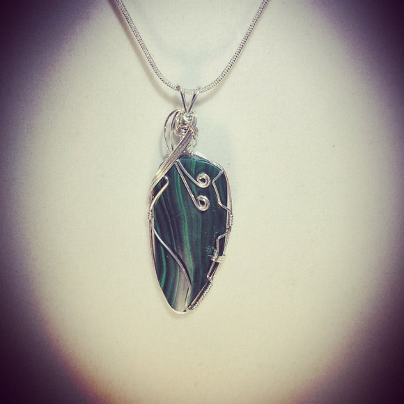 Silver wrapped Malachite necklace