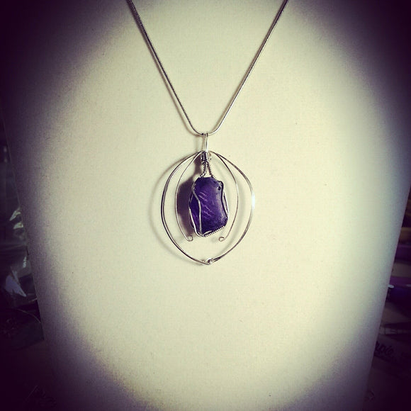 Silver wire wrapped Amethyst Necklace