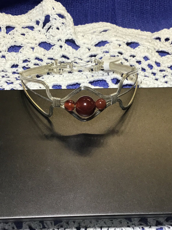 Argentium Sterling Silver Focal Bracelet with Carnelian