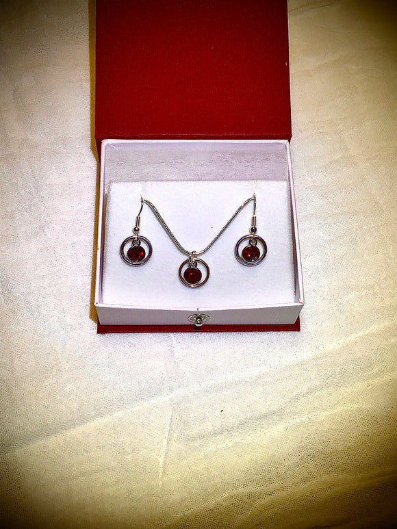 Necklace and earring birthstone set