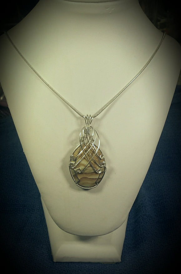 Argtentium Silver wire wrapped Picture Jasper Necklace