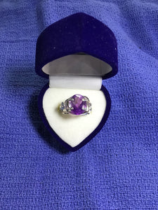 Wire Wrapped Amethyst prong ring