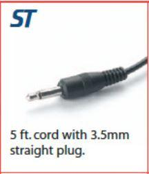 Head Set Cord - Straight Plug