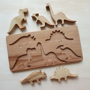 Handmade Wooden Dinosaurs Puzzle (5 Piece)