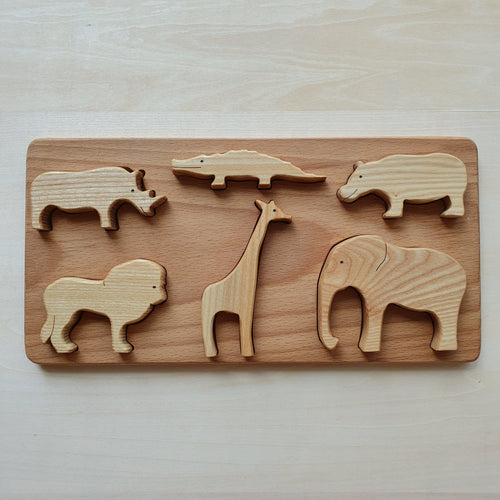 Handmade Wooden Wildlife Animals Puzzle (6 Piece)