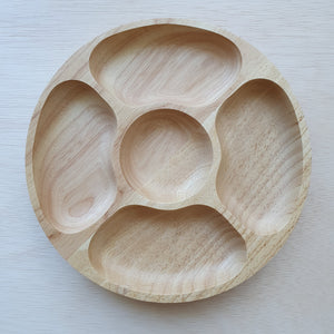 Wooden Tray - 5 Section Rubberwood Circle (25cm)