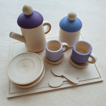 Load image into Gallery viewer, Little Yellow Brick - Wooden Tea Set With Tray (Purple)