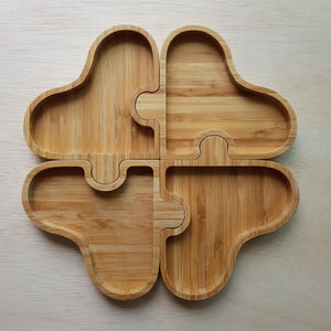 Wooden Tray - 4 Piece Clover