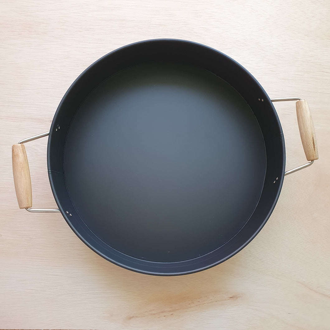 Metal Sensory Play Tray With Handles - Matte Black