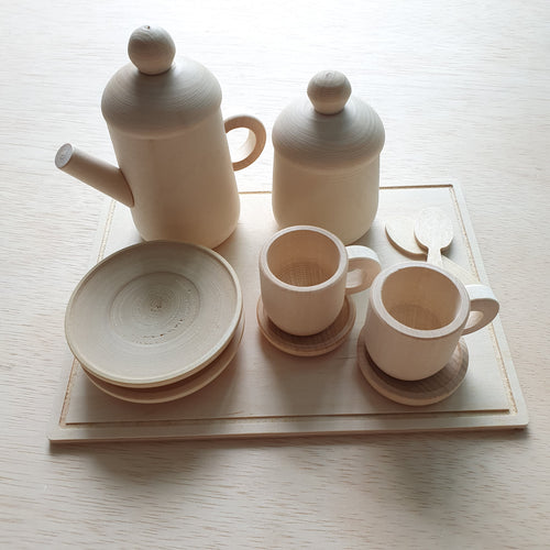 Wooden Teapot Set With Tray