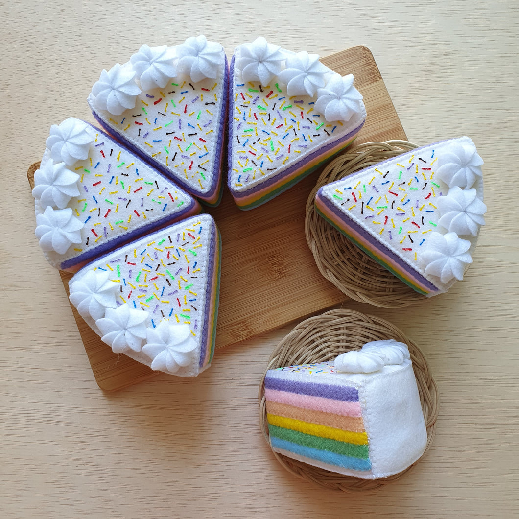 Felt Sweet Treats - Pastel Rainbow Cake Slice
