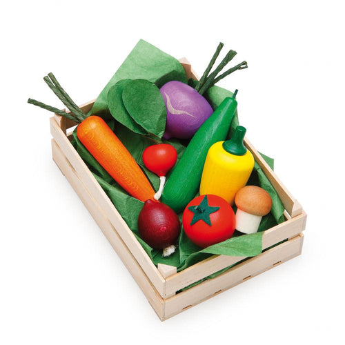Erzi Play Food - Assorted Vegetables In A Large Crate (9 Piece)