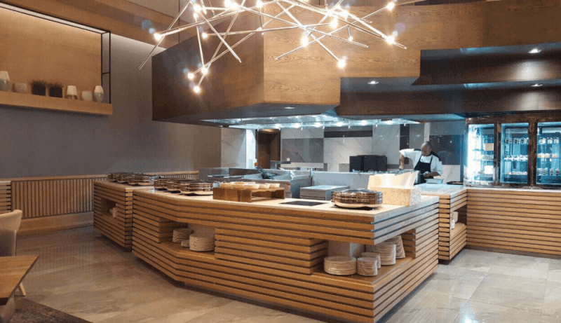A restaurant interior with wood styling that is finished with Rubio Monocoat hardwax oil wood finish.