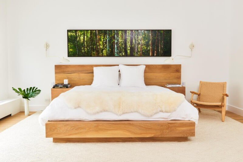 This white oak bed was finished to match the floors through this TriBeCa apartment.