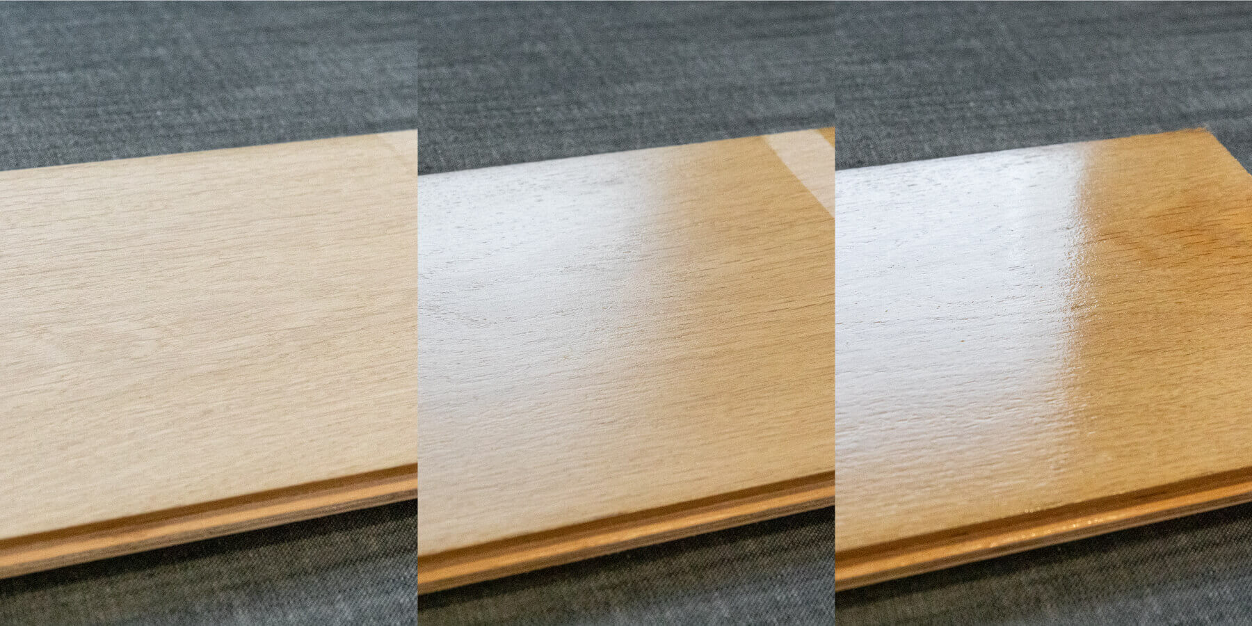 Different wood finish sheen levels.