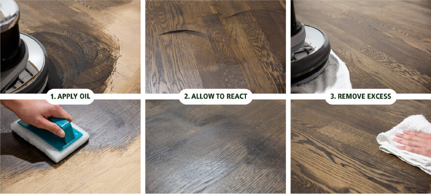 Hardwax oil steps for flooring and furniture