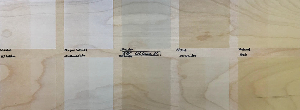 Light wood finish samples shown on birch wood.