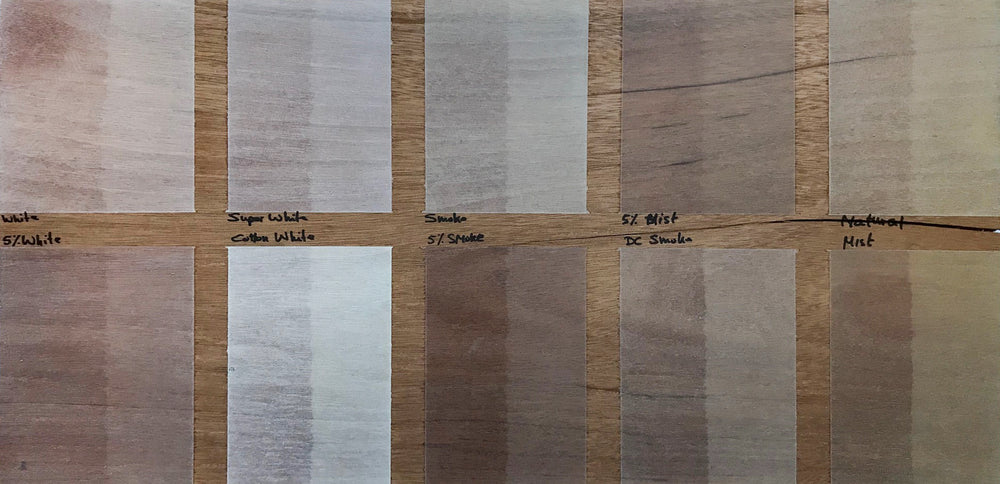 Light wood finish samples shown on mahogany wood.
