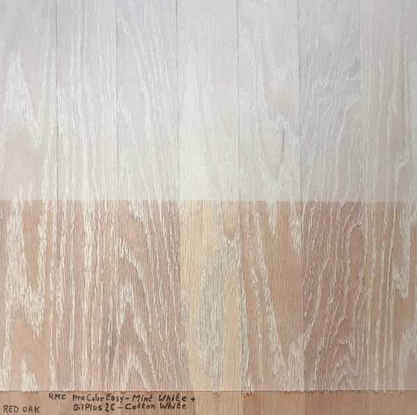 Red Oak without the red is achieved by using a wood stain with some green in it.