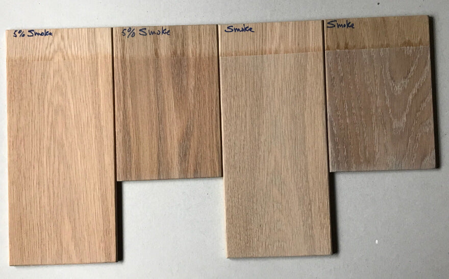 Rubio Monocoat Smoke shown on varying colors of white oak wood.