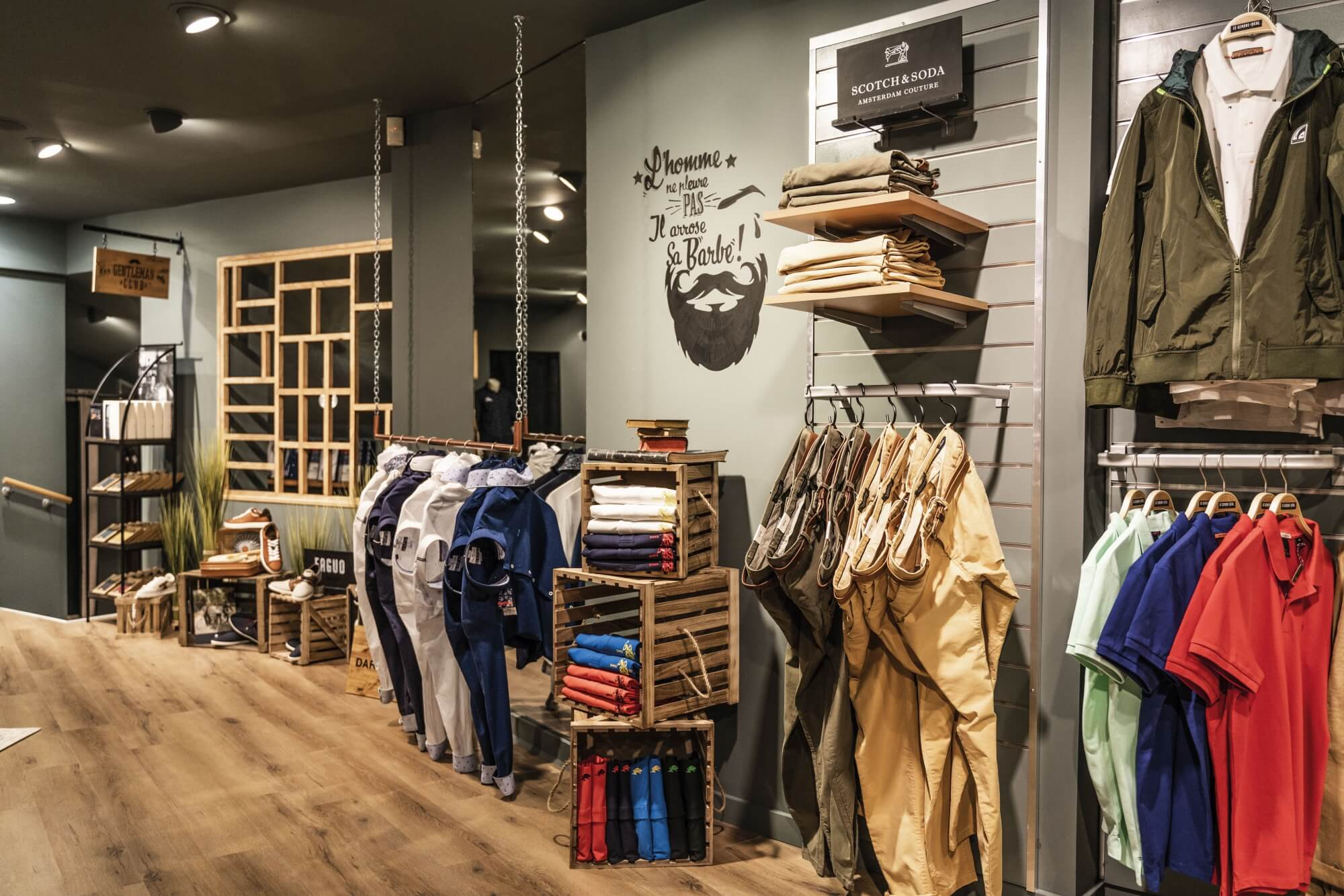 Mens clothing store with hardwax oil finished wood floors.