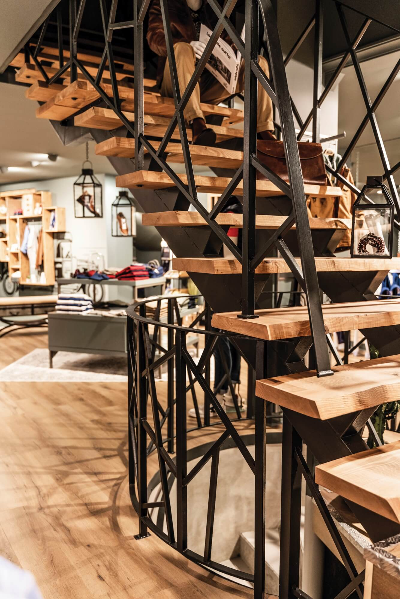 Mens clothing store with hardwax oil finished wood stair treads.
