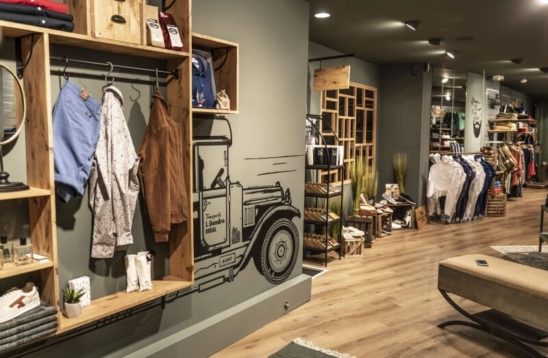 Mens clothing store with hardwax oil finished wood flooring and shelves.