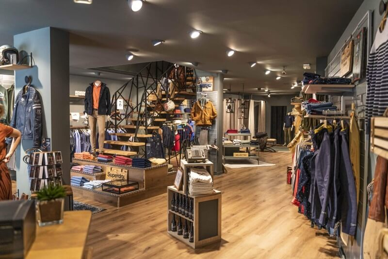 Mens clothing store with hardwax oil finished wood flooring.