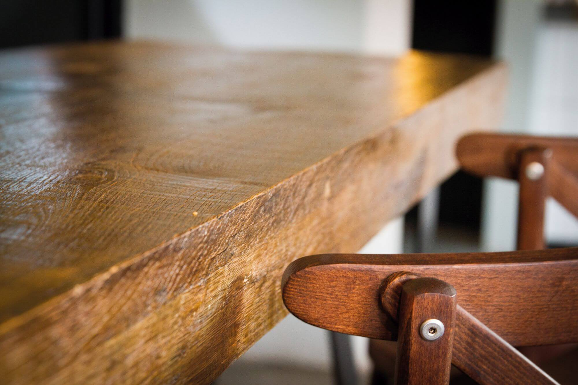 Details of restaurant furniture finished with Rubio Monocoat.