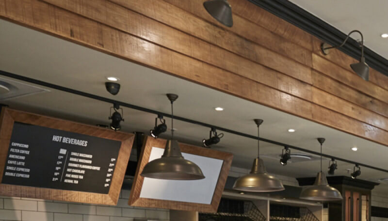 The decorative wood in a restaurant is finished with Rubio Monocoat Oil Plus 2C to give a rustic look.