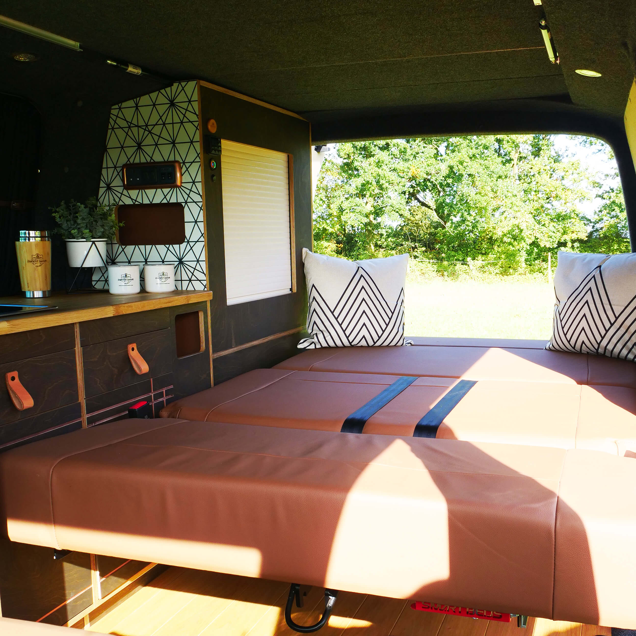 VW van ready for adventure and has wooden features finished with Rubio Monocoat.