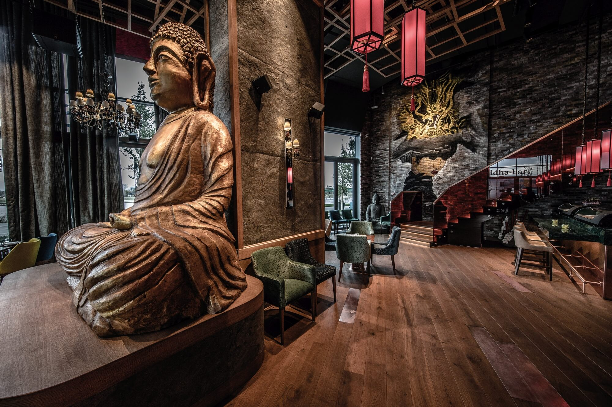 Buddha bar restaurant with hardwood floors.