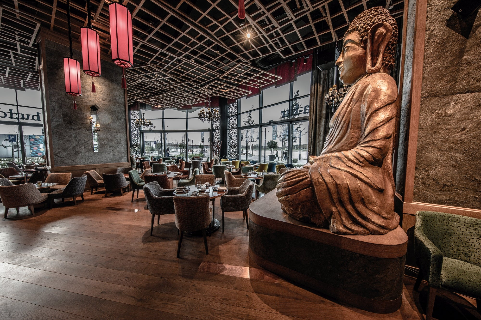 Buddha bar restaurant and wood flooring in the dining area.