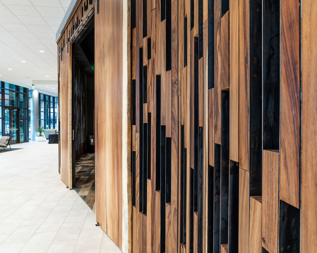 Wooden accent wall in hotel.