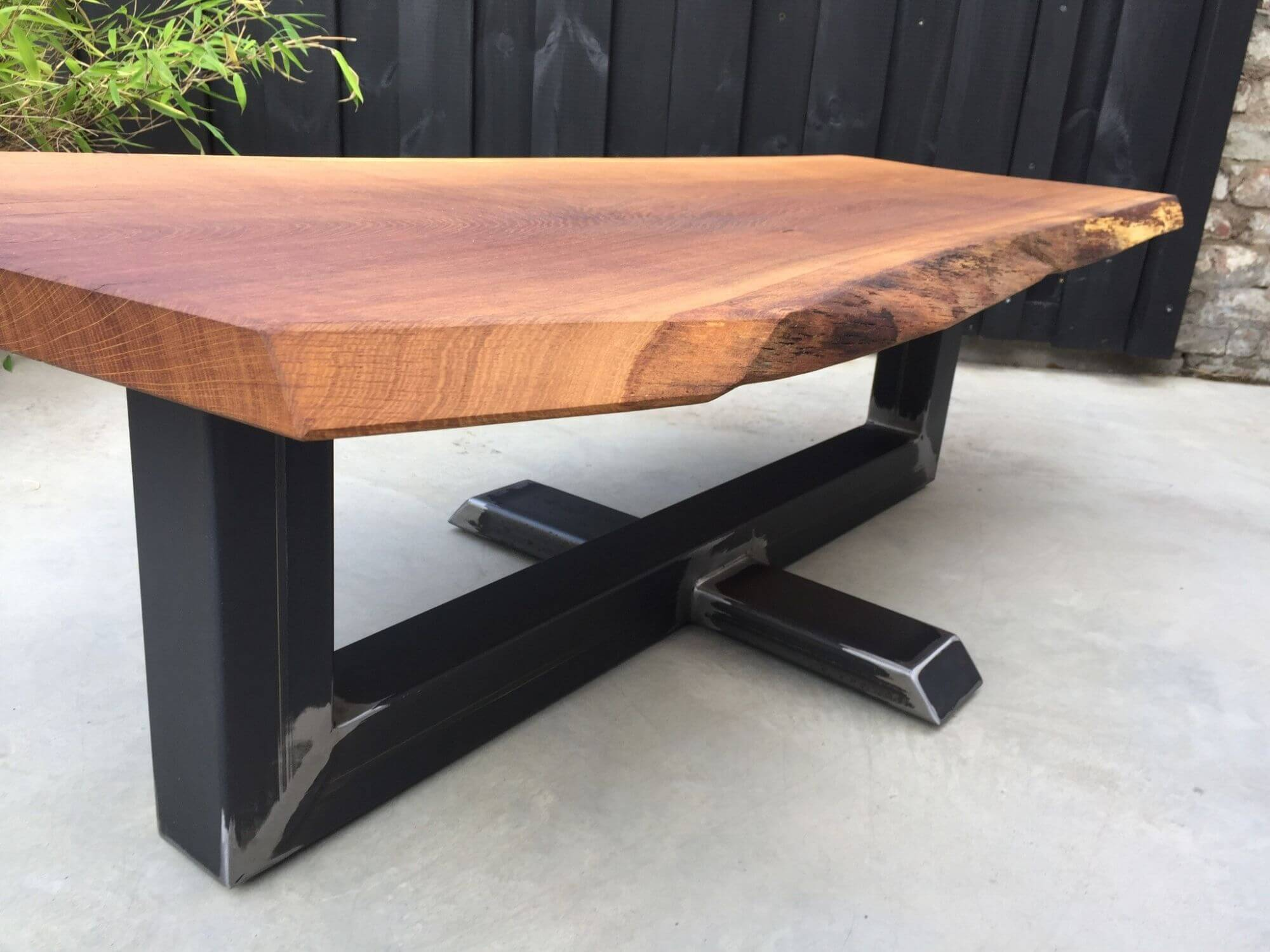 Unique live edge wood table finished with Rubio Monocoat.