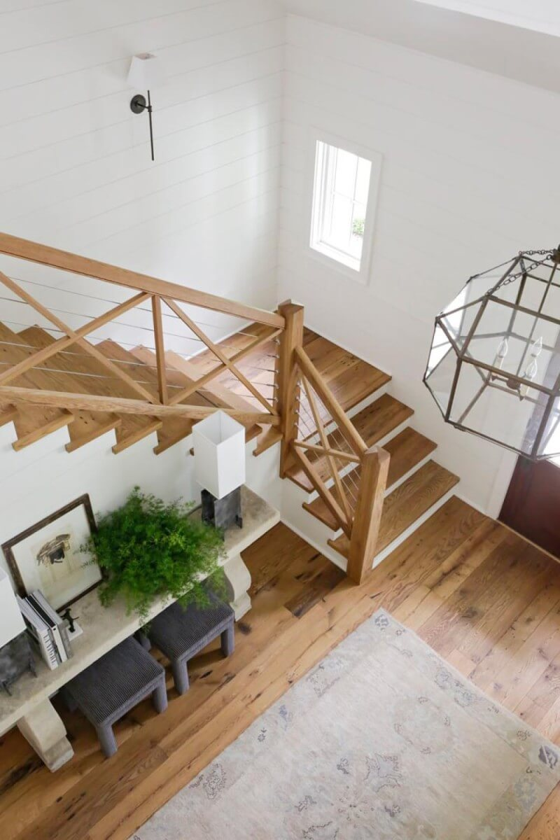 Reclaimed white oak floors and stairs finished with Rubio Monocoat.
