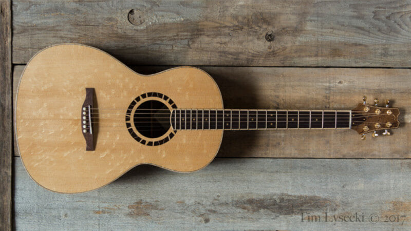 Acoustic guitar finished with Rubio Monocoat hardwax oil wood finish.