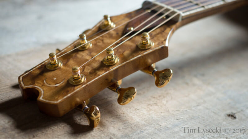 The headstock of an acoustic guitar with gold tuning pegs and wood finished with a hardwax oil wood finish.