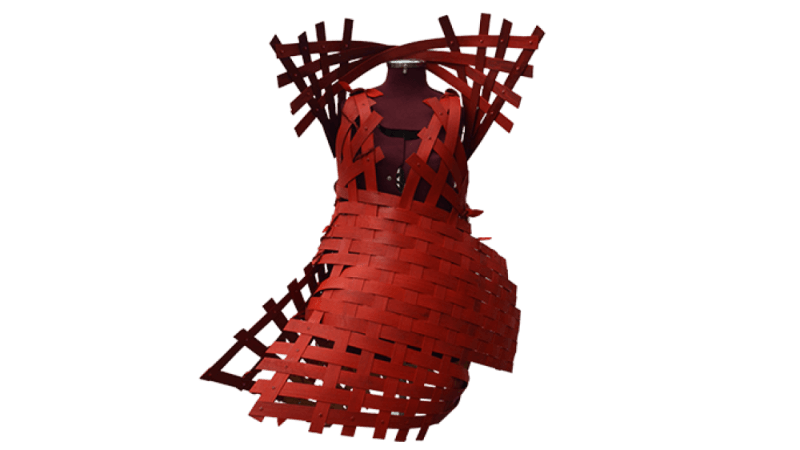 Design concept of a red dress made out of wood strips.