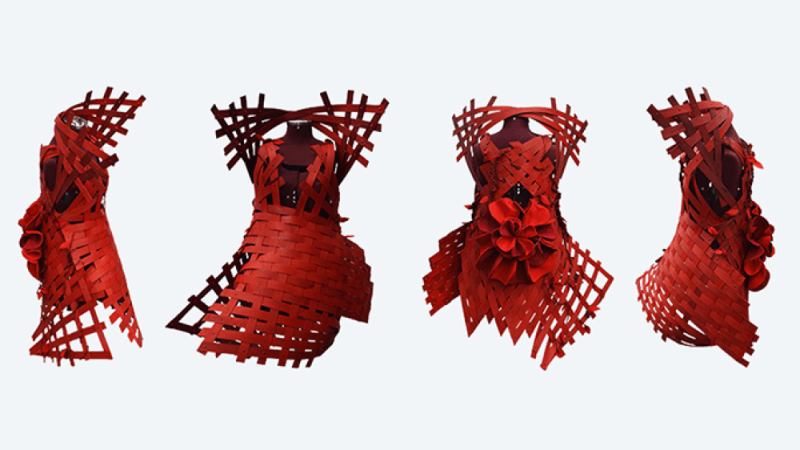 A red dress made out of wood strips.