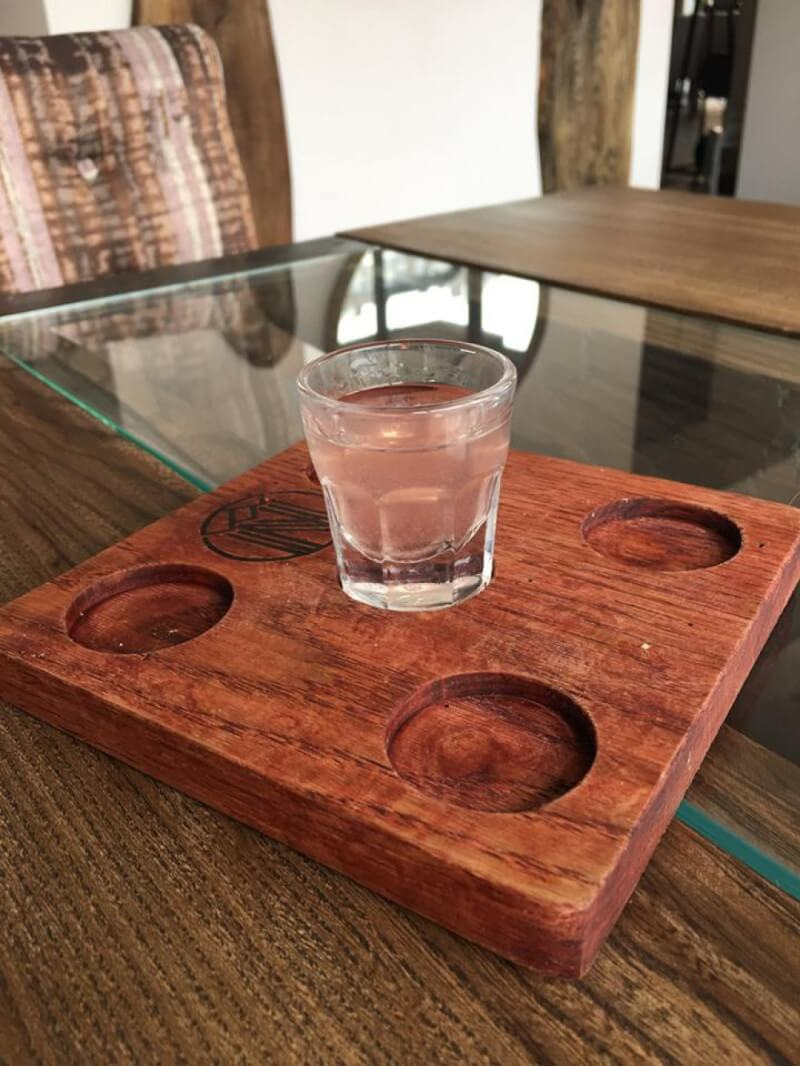 Wooden shot glass serving tray.