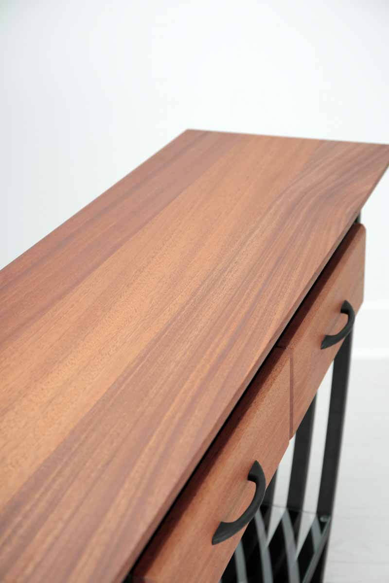 Clean shot of console table finished using hardwax oil wood finish.