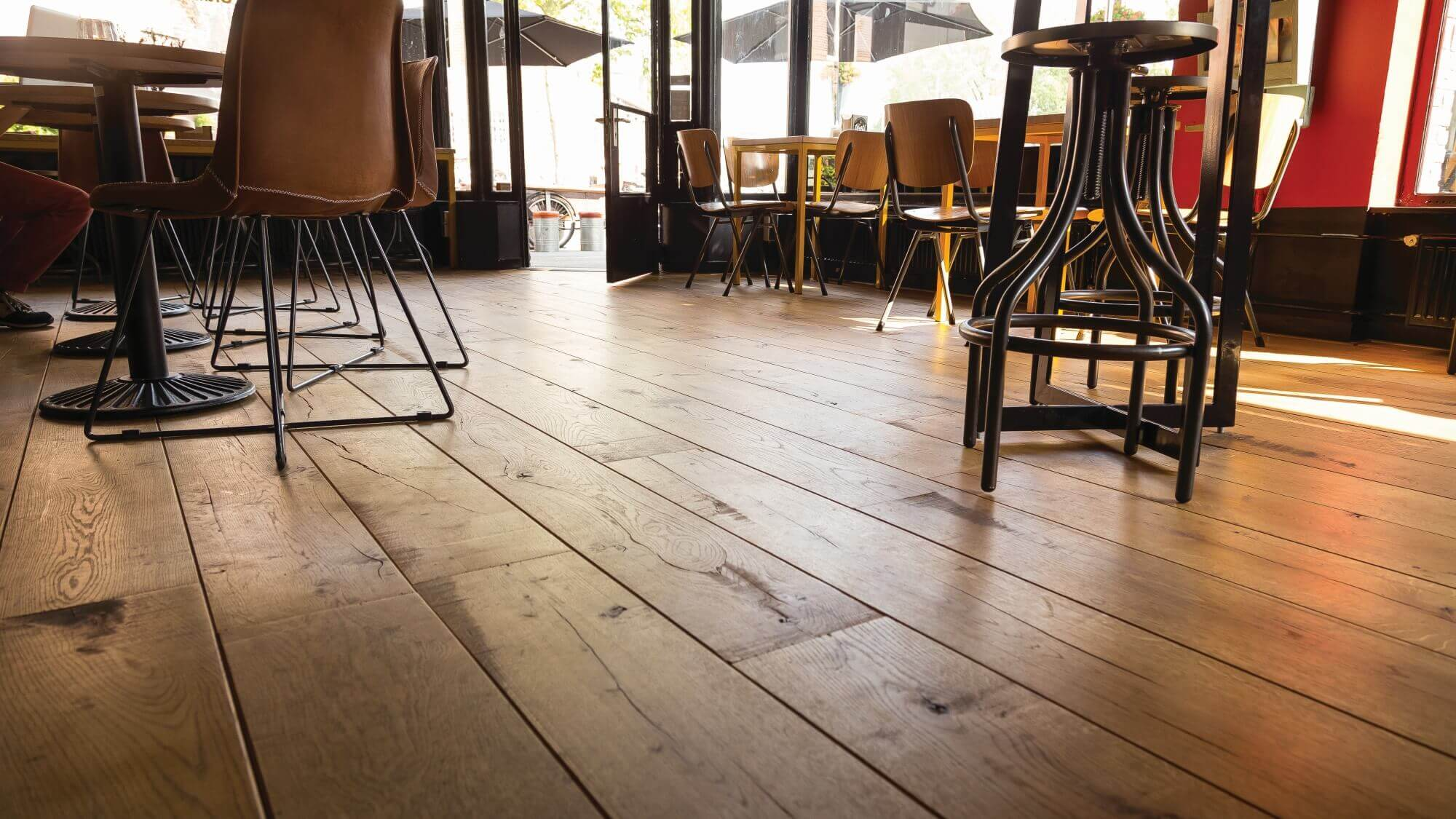 Hardwood flooring from aged oak in a store.