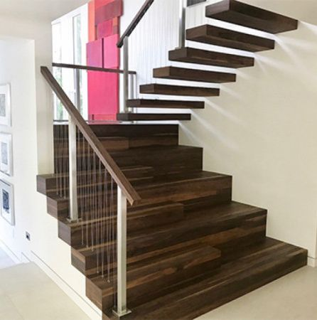 Walnut wooden stairs finished with Rubio Monocoat.
