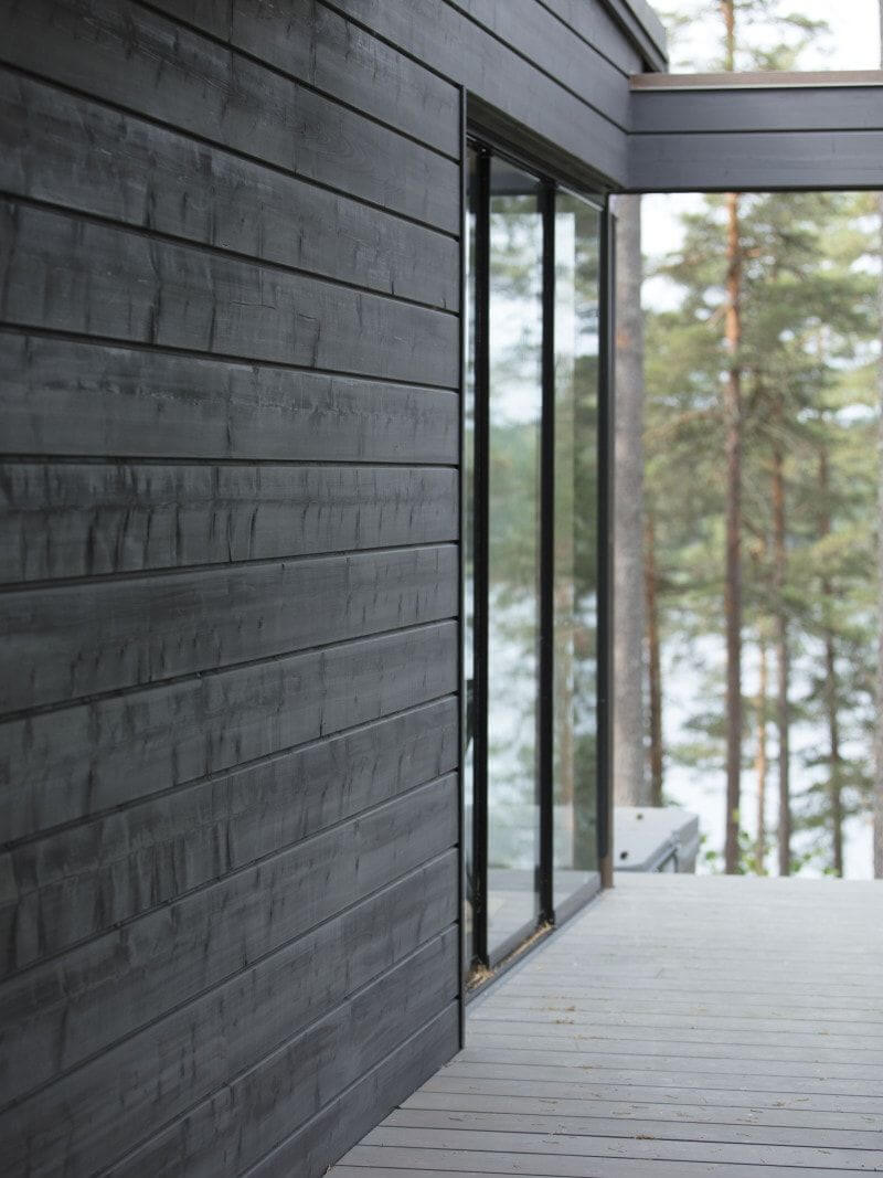Exterior wood cladding finished with exterior Rubio Monocoat hardwax oil finish.