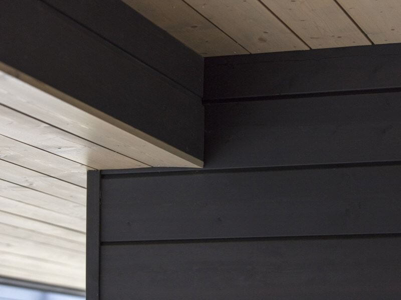 Details on exterior of private house clad in wood finished with Rubio Monocoat.